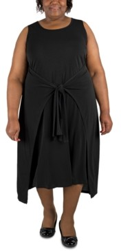 Robbie Bee Plus Size Tie-Waist Shift Dress
