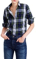 J.Crew Navy Stewart Plaid Perfect Shirt (Regular & Petite)