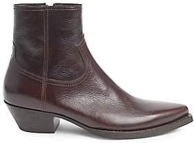 Saint Laurent Men's Lukas Leather Western Ankle Boots