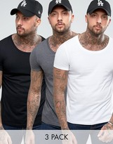 Asos T-Shirt With Scoop Neck 3 Pack SAVE