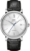 IWC IW356514 Portofino stainless steel and alligator leather watch