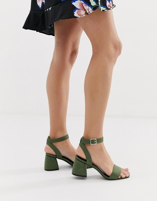 Glamorous green block heel sandals