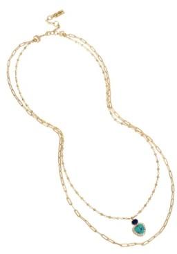 "Jessica Simpson Stone Pendant Layered Necklace Set, 26""-30"" + 2"" Ext"