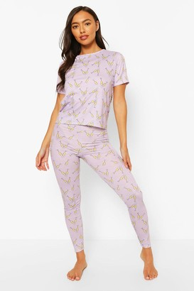 boohoo House Party Print Leggings PJ Set