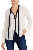 J.Crew Women's Contrast Tie Front Silk Top