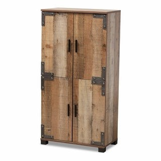 Baxton Studio Cyrille Modern and Contemporary Farmhouse Rustic 4-Door Shoe Cabinet