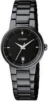 Citizen Women's Quartz Black Ion-Plated Stainless Steel Bracelet Watch 27mm EU6017-54E