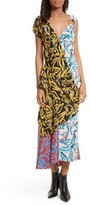Diane von Furstenberg Women's Asymmetrical Mixed Print Silk Maxi Dress