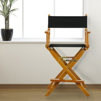 Casual Home Folding Director Chair Casual Home Fabric Color: Navy Blue, Frame Color: Natural