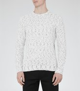 Reiss Tazer - Flecked Weave Jumper in White, Mens