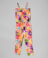 Dollhouse Orange & Purple Floral Jumpsuit - Toddler & Girls