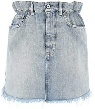 Miu Miu Frayed Paperbag Denim Skirt