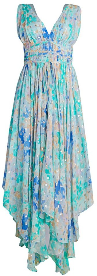 Shoshanna Verda Sleeveless Metallic High-Low Dress