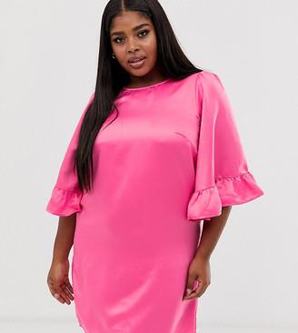 Junarose frill sleeve midi shift dress in pink