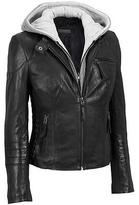 Black Rivet Womens Center Zip Leather Scuba W/Cinched Detail And Knit Hood