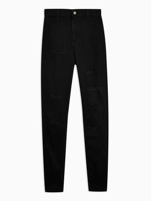 Topshop 32' Super Ripped Joni Jeans - Black
