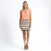 Apricot Blue Coral & Black Crochet Multistripe Mini Skirt