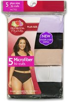 "Fruit of the Loom Women's Plus Size ""Fit For Me"" 5 Pack Microfiber Hi-Cut Panties, Assorted"