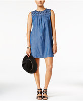 Maison Jules Embroidered Chambray Shift Dress, Only at Macy's