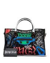 Balenciaga Classic Small City Graffiti-Print Tote Bag