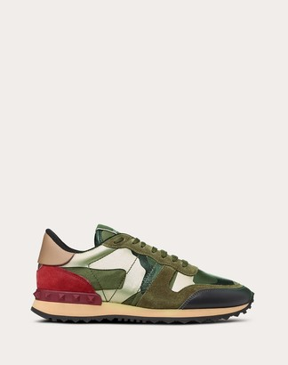 Valentino Metallic Details Camouflage Sneaker Women Military Green Lambskin 50%, Cotton 30%, Polyester 20% 35