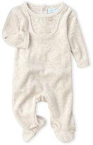 baby dove (Newborn) Button Bib Velour Footie