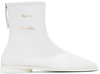 Acne Studios SSENSE Exclusive White Branded Ankle Boots