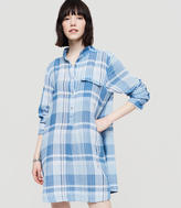 LOFT Petite Lou & Grey Plaid Shirtdress