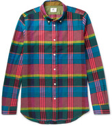 Paul Smith Slim-Fit Checked Cotton and Linen-Blend Shirt
