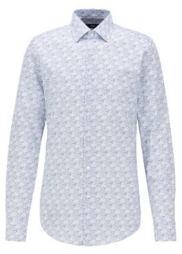 BOSS Slim-fit shirt in Italian satin with collection print