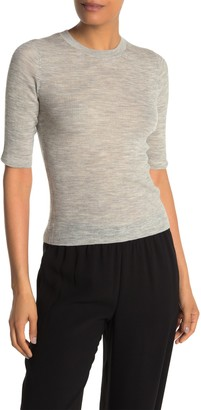 Vince Ribbed Elbow Length Sleeve Wool T-shirt