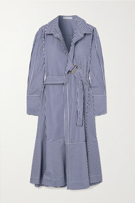 Palmer Harding Calli Belted Striped Cotton-poplin Wrap Midi Shirt Dress - Navy