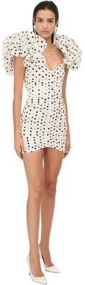 Alessandra Rich Polka Dots Taffeta Mini Dress