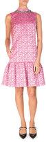 Erdem Nena Sleeveless Beaded Taffeta Dress, Pink/Red