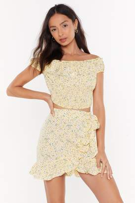 Nasty Gal Womens Oops-A-Ditsy Off-The-Shoulder Floral Crop Top - Yellow - L