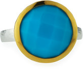 Gurhan Galapagos Large Round Checkerboard-Cut Turquoise Ring, Size 7