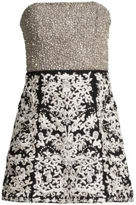 Alice + Olivia Paige Strapless Embroidered Mini Dress
