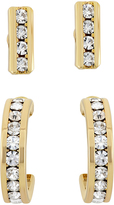 White & Gold Channel Earrings Set With Swarovski® Crystals
