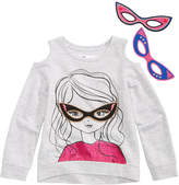 Epic Threads Hero Kids by Cold-Shoulder Detachable-Mask Sweatshirt, Little Girls (4-6X), Created for Macy's