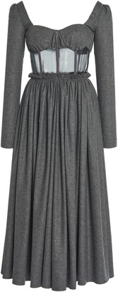 Rosie Assoulin Organza-Detailed Wool-Cotton Midi Dress