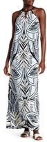 Maggy London Slide Slit Print Maxi Dress