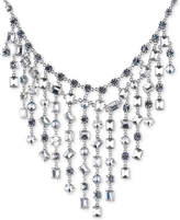 Carolee Silver-Tone Bezel-Set Crystal Statement Necklace