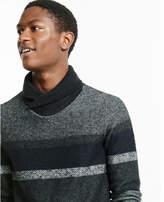 Express mixed stripe shawl neck sweater