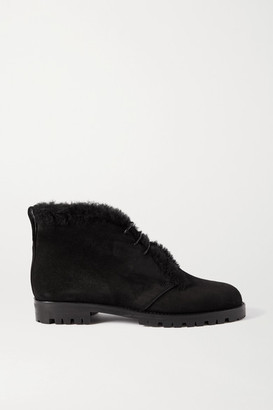 Manolo Blahnik Mircus Shearling-lined Suede Ankle Boots - Black