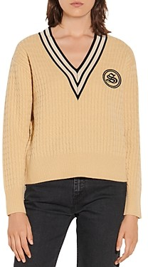 Sandro Tony Cable Knit Wool & Cashmere Sweater