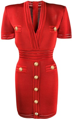 Balmain Gold-Tone Buttoned Mini Dress