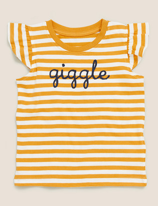 Marks and Spencer Pure Cotton Giggle Slogan Top (0-3 Yrs)