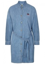Kenzo Blue Embroidered Chambray Shirt Dress