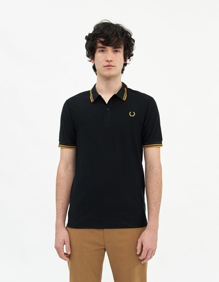 Fred Perry Tipped Pique Polo Shirt in Black