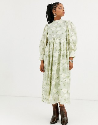 Sister Jane DREAM long sleeve midi dress with colume sleeves in all over floral embroidery-Green